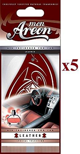 5 X Mon Areon Cuir désodorisants pour voiture Parfum de qualité Home Office Taxi Parfum