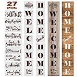 Outivity 27PCS Welcome Sign Stencils Set Reusable Seasonal Letters Word Sign Plastic Drawing Templates for Painting On Wood for Front Door, Porch Or Outside Home Decor