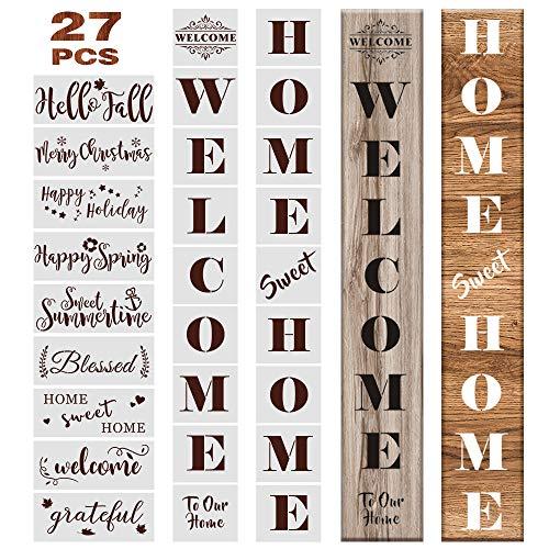 Outivity 27PCS Welcome Sign Schablonen Set Wiederverwendbare Saisonale Buchstaben Word Sign Kunststoff Zeichenvorlagen zum Malen auf Holz für Haustür, Veranda oder Außeneinrichtung