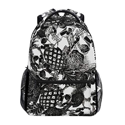 Pineapple Skull Durable Backpack College School Book Shoulder Bag Daypack for Boys Girls Man Woman