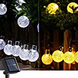 Joomer Solar Lichterkette Aussen, 9M 60 LED Kristall Kugeln Lichterkette Außen Solar, 8 Modi Wasserdicht Outdoor Lichterkette Solar für Garten, Terrasse, Party, Balkon Deko (Bunt) [Energieklasse A+++]