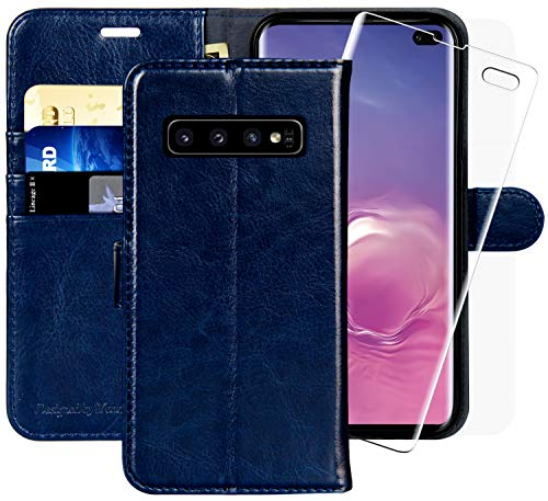 Galaxy S10+ Plus Wallet Case, 6.4 inch,MONASAY [Included Screen Protector] Flip Folio Leather Cell Phone Cover with Credit Card Holder for Samsung Galaxy S10 Plus