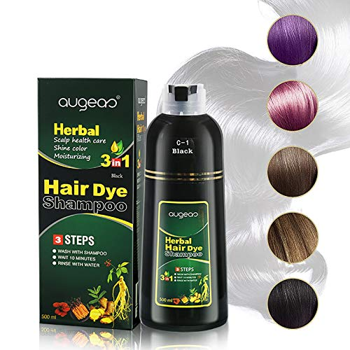 10 Mins Herbal Hair Coloring Shampoo, 3-in-1 Herbal Hair Darkening Shampoo, Natural Hair Dye...