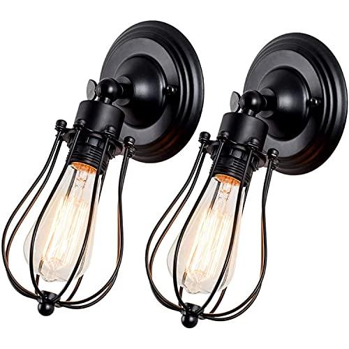 Iluminación industrial ajustable zócalo rústico apliques de alambre de metal jaula lámpara de pared interior casa retro lámpara lámpara (lámpara individual base 2 paquetes)
