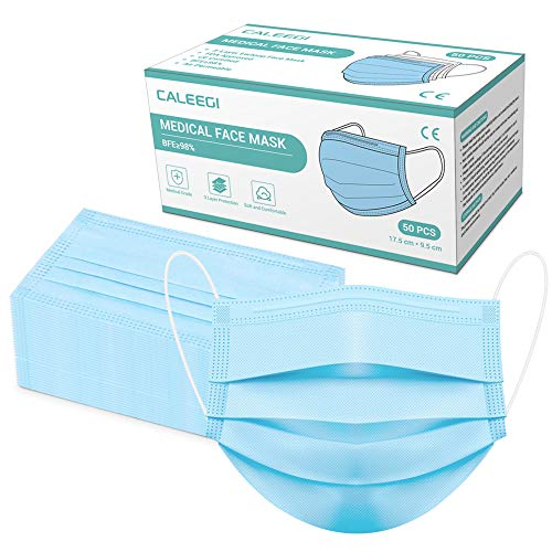 Medical Grade Face Masks 50PCS, Disposable Face Mask Breathable 3 Ply Elastic Earloop Safety Mouth Mask for Man, Women, Kids Outdoor Health Protection