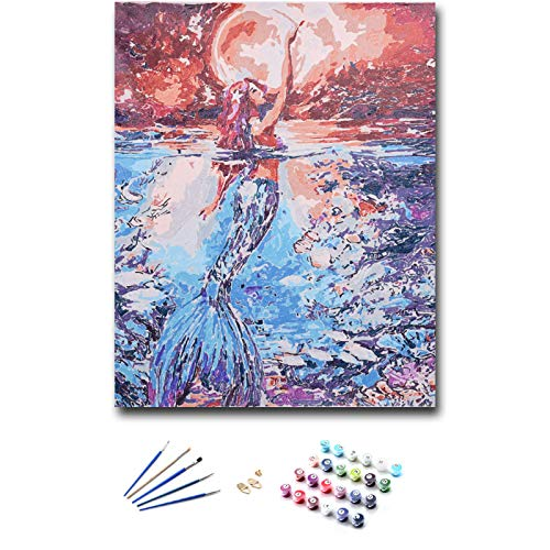 KLIERWOY Paint by Numbers for Adults - DIY Oil Paint Beginner Kit Art Canvas Set 16x20 inch (Without Frame) Mermaid