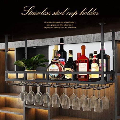TTWUJIN Estante para vino, bar, restaurante, estante para copas de vino, arte de hierro para el hogar, una sola capa, colgante, soporte negro, seguridad, fácil instalación, hogar al revés,120x35cm