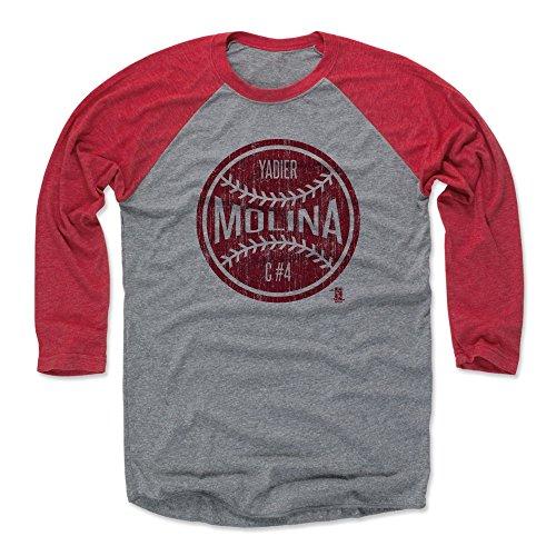 500 LEVEL Yadier Molina Tee Shirt (Baseball Tee, XXX-Large, Red/Heather Gray) - St. Louis Raglan Tee - Yadier Molina Ball R