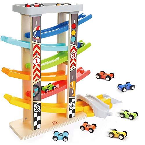 TOP BRIGHT Circuito de Carreras con Coches de Juguete para Bebés y Niños pequeños de 1 a 3 años - Pista de Rampas con 6 Mini Coches y 3 Puentes - Madera de Calidad sin BPA - Seguro y Divertido