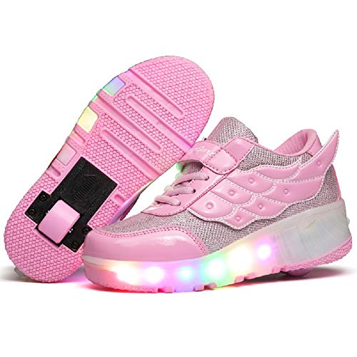 KOWO LED-Trainer,LED Light-UP-Rollschuhschuhe,für Unisex-Kinder,Jungen,Mädchen,wiederaufladbare USB-Einzelräder,einziehbare Doppelräder,Laufschuhe für Outdoor-Sportarten,Cross-Schuhe