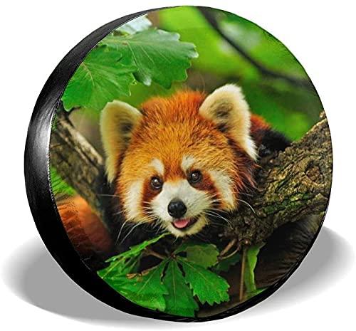 Red Panda Climbs A Tree - Cubierta de neumático de repuesto,poliéster,universal,de 17 pulgadas,cubierta de neumático de repuesto para remolque,RV,SUV,camión,camión,autocaravana,accesorios de remolque
