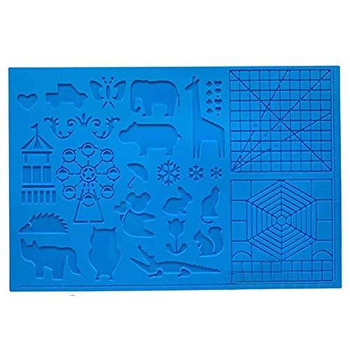 Buty 3D-Pen-Matte, Multi-Form-Silikon-3D Feder Zeichnung Vorlage, 3D-Druck-Matte mit 2 Fingerschützern Geschenk für 3D-Anfänger/Kinder/Erwachsene