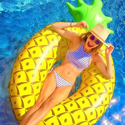 ANGAZURE-DE Ananas Aufblasbare Luftmatratze, Aufblasbar Ananas Schwimmring Wasser Strand Party Spielzeug, Schwimmreifen Luftmatratze Wasserspielzeug für Kinder Erwachsene