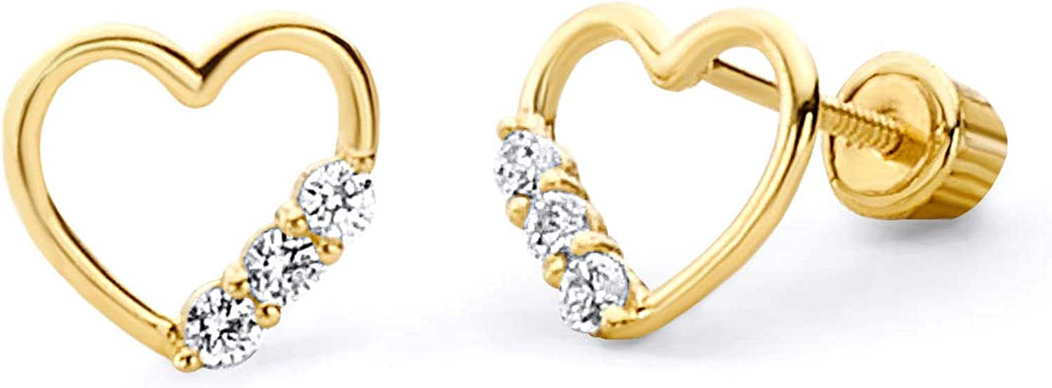 Wellingsale 14K Yellow Gold Polished Cut-Out Heart Stud Earrings With Screw Back