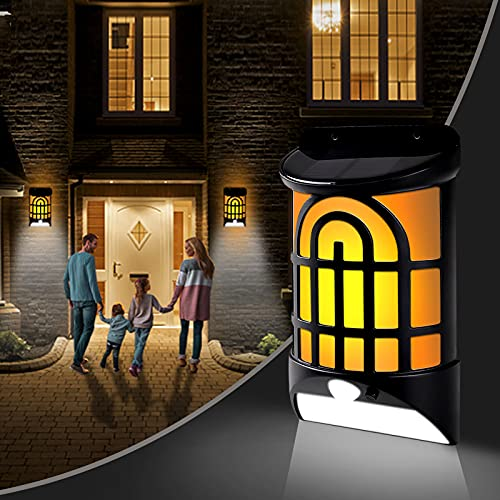 Solar Flame Wall Lights Outdoor 2 Packs, Geahod Solar Flame Lights with Dark Sensor Auto On/Off, Waterproof Landscape Lighting Wall Mounted Solar Lights for Pathway Patio Deck Yard