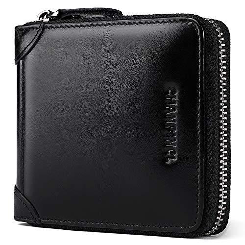 Herren Geldbörse aus Leder, extrem einfach, doppelt gefaltet, RFID, sicher, ultradünn, großes Fassungsvermögen, Geldbörse