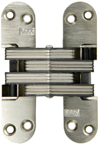 SOSS Invisible Hinge Model 218 for 1-3/4' Thick Material, 20 Minute Fire Rated, Zinc, Satin Nickel Exterior Finish, Model Number 218US15