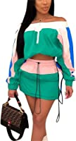 Molilove 2 Piece Outfits for Women Top and Short Skirt Lightweight Windbreaker Set Women Two Piece Outfits Sets