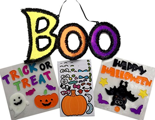 Halloween Decorations Kit - 2 Sets of Window Gel Clings, Shimmery Boo Sign, Pumpkin Stickers - All in a Fun Bundle