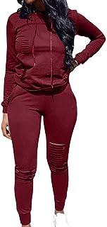 Women's Sweatsuits, Women's 2 Pcs Tracksuit - Round Neck Long Sleeve Top Stripe Long Pants Jumpsuit Outfits Set - Sport