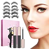 CHARMINER Magnetic Eyelashes with Eyeliner Lashes, Magnetic Eyelashes Kit with Tweezers,5 Style 3D Handmade Thick Natural Eyeliner Look Long Lasting for Women for Party, Daily(Pink)
