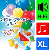 bentino Geburtstagskarte XL mit Musik, DIN A4 Set mit Umschlag, Karte mit Geldbrief, spielt Louis Armstrong'Happy Birthday', Sound in toller HiFi Qualität, Grußkarte aus der Serie'Great Cards'