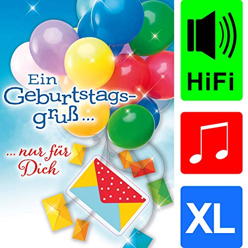 bentino Geburtstagskarte XL mit Musik, DIN A4 Set mit Umschlag, Karte mit Geldbrief, spielt Louis Armstrong