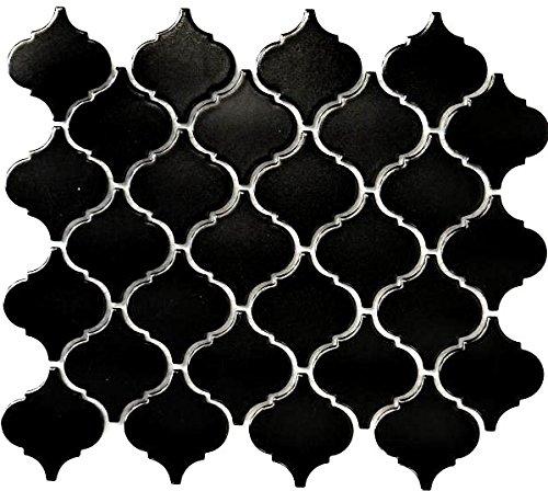 Retro Vintage Mosaik Fliese Keramik Florentiner schwarz matt für BODEN WAND BAD WC DUSCHE KÜCHE FLIESENSPIEGEL THEKENVERKLEIDUNG BADEWANNENVERKLEIDUNG WB13-12BM