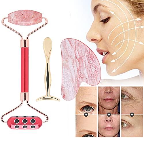 Juego de tablero de raspado, rodillo de masaje manual, juego de cucharas de crema para ojos, masajeador de rodillo facial para arrugas para promover