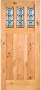 """ETO Doors Sulcus - Exterior Knotty Alder Craftsman Style 3 Lite Entry Door with Beveled Glass, Pre-Hang Available, Door/Slab Only, Unfinished, Size 36""""x84"""" (1-3/4"""")"""