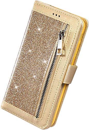 Herbests Kompatibel mit Huawei P40 HandyHülle Handytasche Glitzer Bling Glänzend Brieftasche Hülle Multifunktionale Reißverschluss Leder Schutzhülle [9 Kartenfach] Handschlaufe,Gold