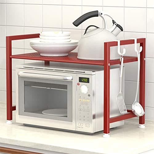 Kitchen furniture - Etagère blanche pour appareils électriques, support à four à micro-ondes, 2 crochets WXP (Couleur : Red)