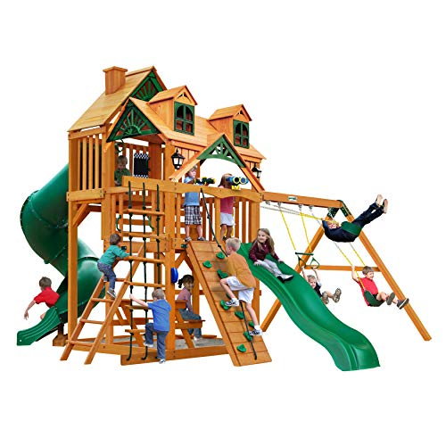 Gorilla Playsets 01-0047-AP Great Skye I Wood Swing Set with Malibu Wood Roof, Tube Slide, and Built-in Picnic Table