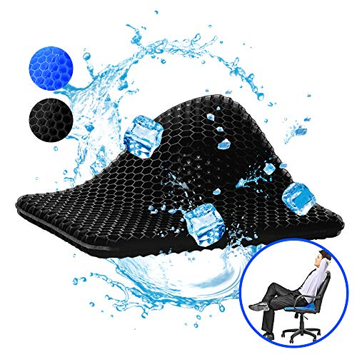 Gel Seat Cushion, New Version Egg Seat Cushion Double Thick Wheelchair with Non-Slip Cover, Breathable Chair Pads Honeycomb Design Absorbs Pressure Points for Car Office Chair Wheelchair (Black)