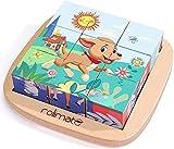 Rolimate Juguetes Rompecabezas de Cubos de Madera, Bloques de Rompecabezas de Animales Juguete Educativo Montessori, Regalos de Cumpleaños de Navidad para Bebés Niños de 2 3 4 + Años