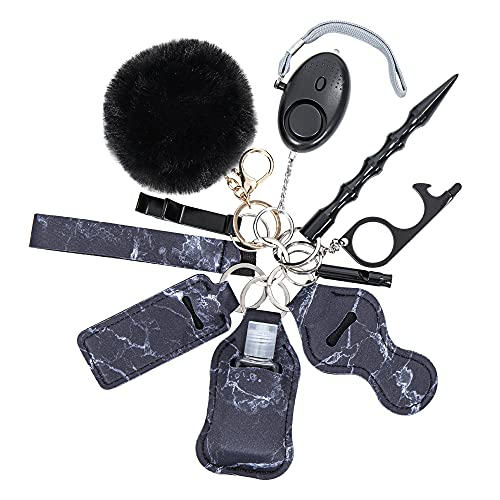 Keychains Set for Girls Safety Alarm with Flashlight Black Marble
