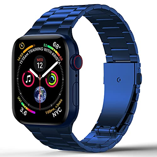 CHENPENG Banda Compatible con Apple Watch 1/2/3/4/5/6 SE Banda de Acero Inoxidable Ultrafina Pulsera de Metal de Acero Inoxidable Brazalete de Pulsera,2,42mm