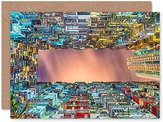 Fine Art Prints Arkitektur nattbyggnad stad skyskrapa gratulationskort med kuvert inuti premiumkvalitet