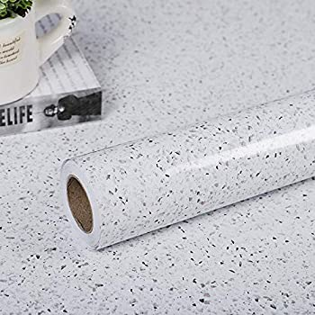 """Glossy Marble Paper for Countertop Marble Peel and Stick Wallpaper Granite Wallpaper White Marble Sticker Waterproof Marble Self Adhesive Wallpaper 15.7""""×118"""" Easy to Install & Clean Removable"""