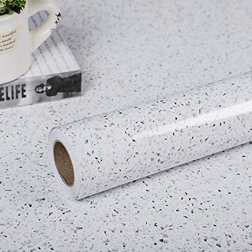 """Glossy Marble Paper for Countertop Marble Peel and Stick Wallpaper Granite Wallpaper White Marble Sticker Waterproof Marble Self Adhesive Wallpaper 15.7""""×118"""" Easy to Install & Clean, Removable"""