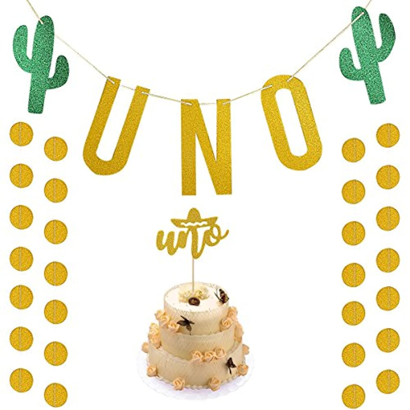 Gold Glittery UNO Fiesta First Birthday Banner with UNO Cake Topper and Gold Glittery Circle Dots Garland,Fiesta Cactus Taco Party Decoration Supplies xxvmdjkdhkj066