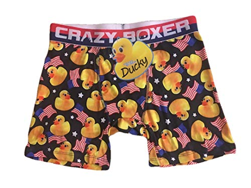 Crazy Boxers Rubber Ducks with American Flag (Large) Black Yellow