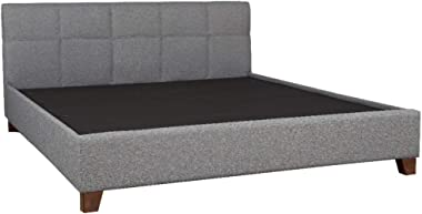 HomeTown Allen Engineered Wood Fabric Upholstered King Size Bed in Grey Colour