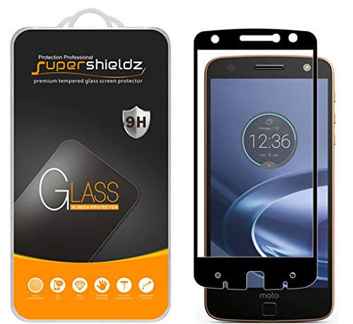 (2 Pack) Supershieldz Designed for Motorola (Moto Z Force Droid) Tempered Glass Screen Protector, (Full Screen Coverage) Anti Scratch, Bubble Free (Black)