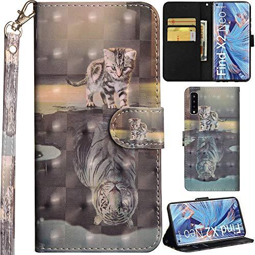 DodoBuy Oppo Find X2 Neo Hülle 3D Flip PU Leder Schutzhülle Handy Tasche Wallet Hülle Cover Ständer mit Trageschlaufe Magnetverschluss für Oppo Find X2 Neo - Katze Tiger