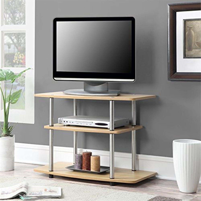 Pemberly Row 32  3 Tier TV Stand in Light Oak