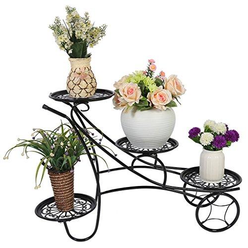 G-HJLXYZWJHOME Metalen Potplanten Tuin Patio Display Rack Met 4 Houders Bloempotten Houders Display Stand - Zwart