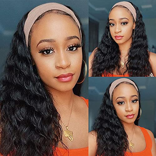 Civrie Loose Wave Headband Wigs for Black Women, 14 inches Synthetic Short Wavy Black Wigs with Headband Attached , Glueless None Lace Machine Made Headband Wigs for Daily Use