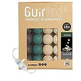 Guirlande lumineuse boules coton LED USB - Veilleuse bébé 2h - Adaptateur secteur double USB 2A inclus - 3 intensités - 16 boules 3.2m - Sauvage