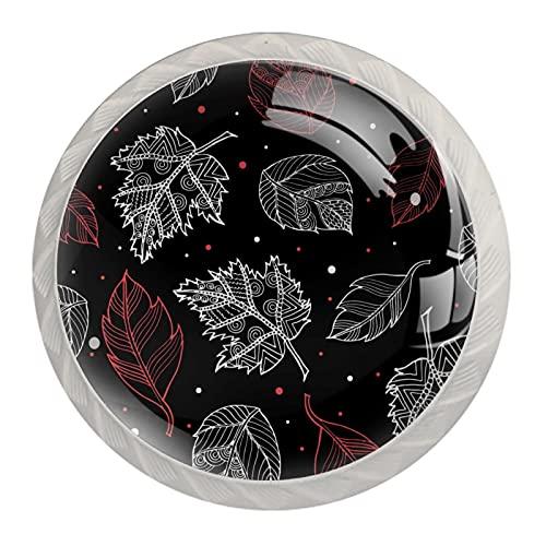 Otoño Rosa Blanco Hojas Punto Fondo Negro Perilla de Cristal Redondo Manija de Cajón Blanco, con Tornillos, para Gabinetes de Oficina en el Hogar (35mm, 4 PCS)
